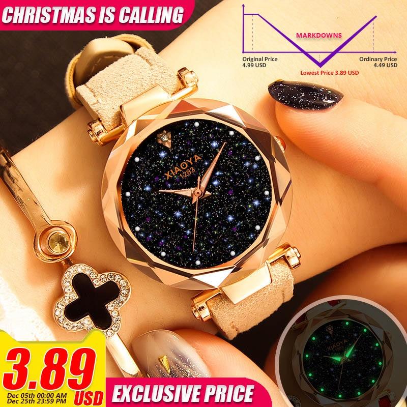 Quartz Watch Starry Sky Multicolor Leather Wristwatch Simple Designer Women Clock