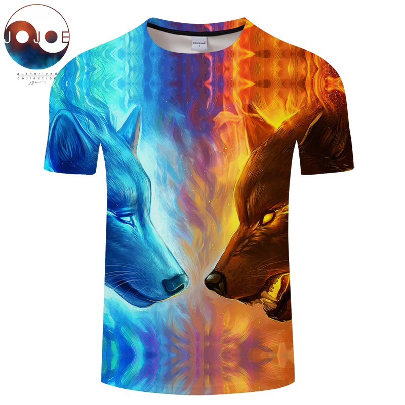 Fire and Ice Wolf by JojoesArt Printed T shirts 3D Men T-shirts Funny Short Sleeve Summer Tops Tees Male Quality Hot Sale Tshirt