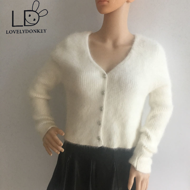LOVELYDONKEY Stickad Cardigan mink cashmere kvinnor tröja cashmere - Damkläder