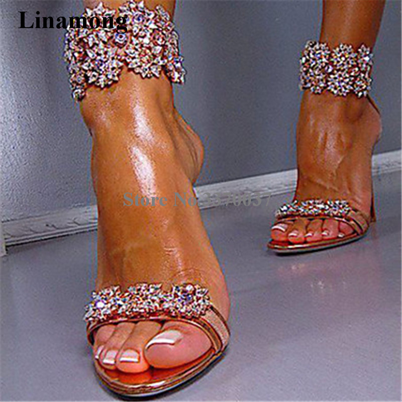 Luxury Women Charming Rhinestone High Heel Sandals Ankle Strap Crystal Beaded Thin Heel Sandals Wedding Shoes Dress Shoes luxury red satin high heel pumps pointed toe crystal ankle strap wedding dress shoes thin heels cut out rhinestone sandals