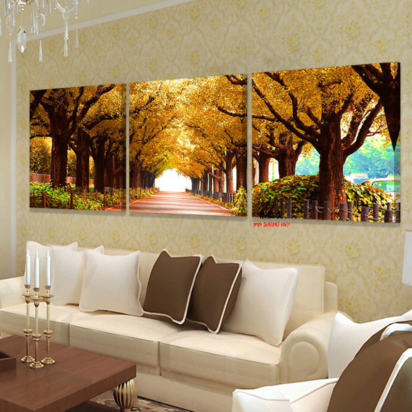 Large Wall Pictures For Living Room: 3pcs Tree Pictures Home Decoration Wall Paintings For