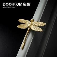 Dooroom латунные стрекозы декоративные ручки для мебели скандинавские Ins золотого цвета для ящика двери шкафа шкаф комод ручки