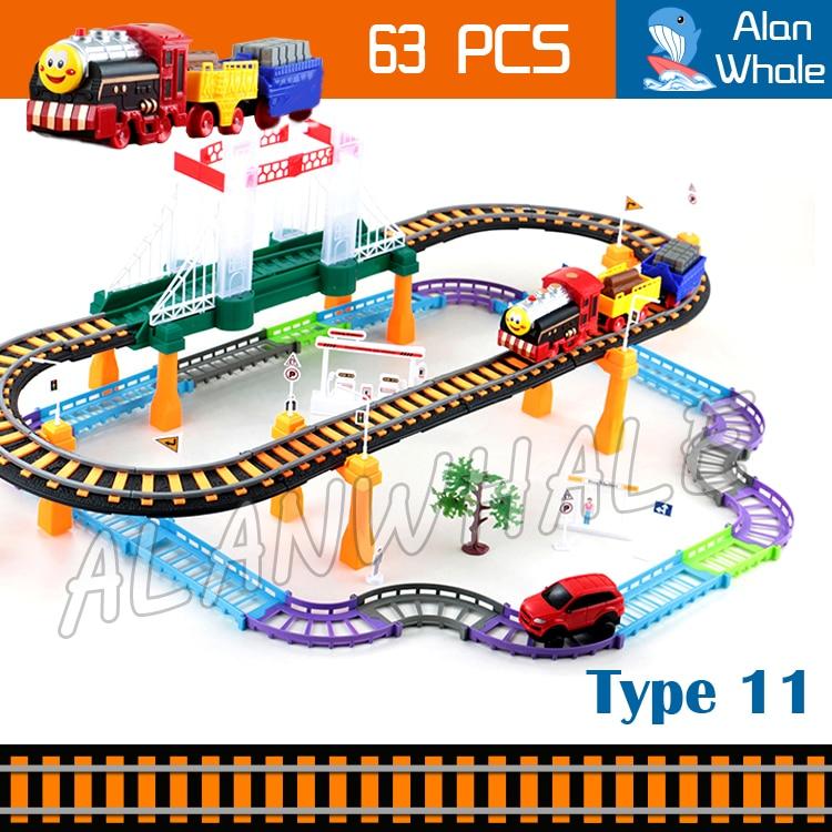 63 pièces Kit de Train de Rail électrique à pont multicouche voitures de voie en plastique véhicules électriques jouets Brinquedos