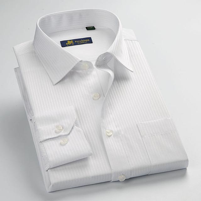 Striped Men Dress Shirt Formal Business Social Shirts Classic Design Plus Size Long Sleeve Non-Iron Shirts