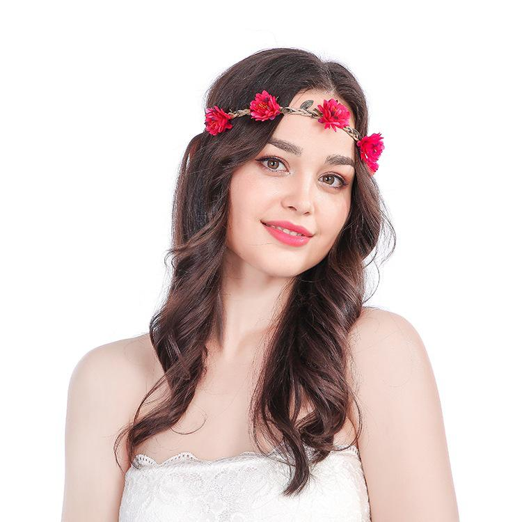 Bohemia Summer Wedding Floral Crown Headband Wedding Party Wreath Floral Garlands Ribbon Adjustable Rose Flower Crown For Women in Bridal Headwear from Weddings Events