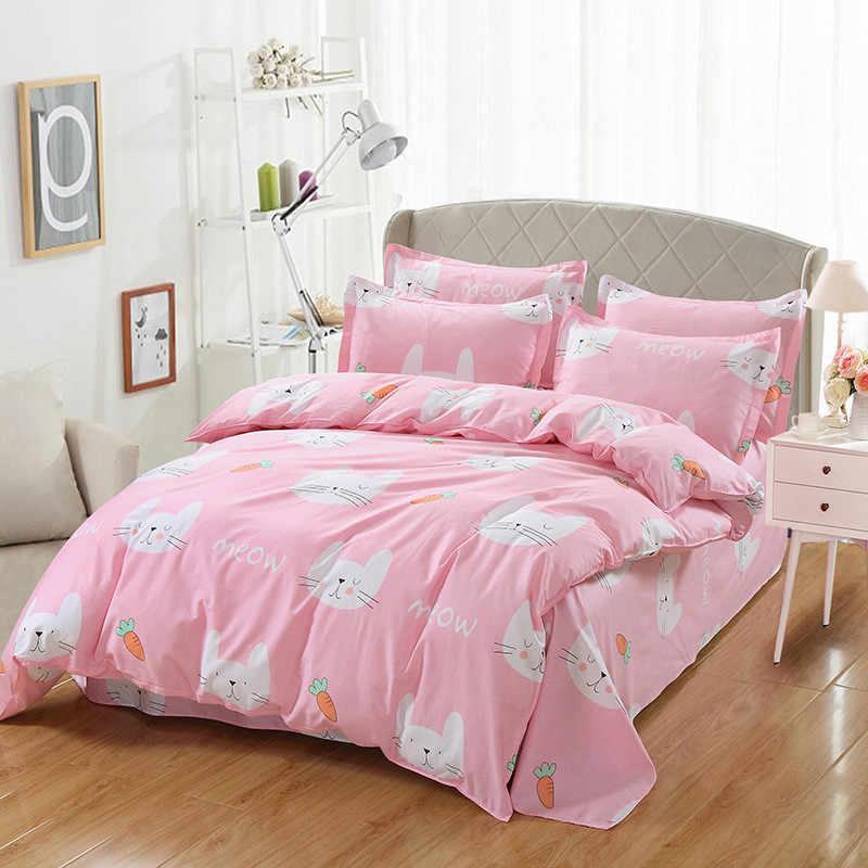 Красивый розовый набор постельного белья с рисунком моркови, постельное белье с подушкой, наволочки, пододеяльник, наборы, двойной полный Королевский размер