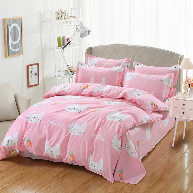Lovely Carrot pink Bedding Set Cartoon Bed Linen Include Sheet Pillow cases Duvet Cover Sets Twin full Queen king sizeLovely Carrot pink Bedding Set Cartoon Bed Linen Include Sheet Pillow cases Duvet Cover Sets Twin full Queen king size