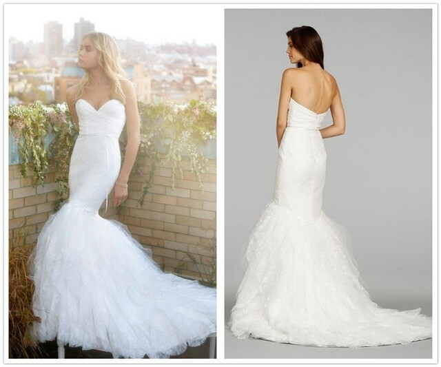 Exquisite Sweetheart Lace Mermaid Wedding Dresses Ruffled Tulle ...