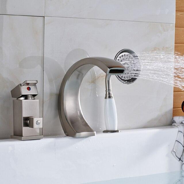 Ulgksd C Shaped 3pcs Br Bathroom Faucet Tub Bathtub Mixer Tap Filler