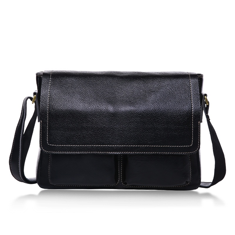 Brand Design Business Men Bag 100% Genuine Leather Crossbody bags for men Fashion Male Messenger Bags Shoulder Travel bag Black
