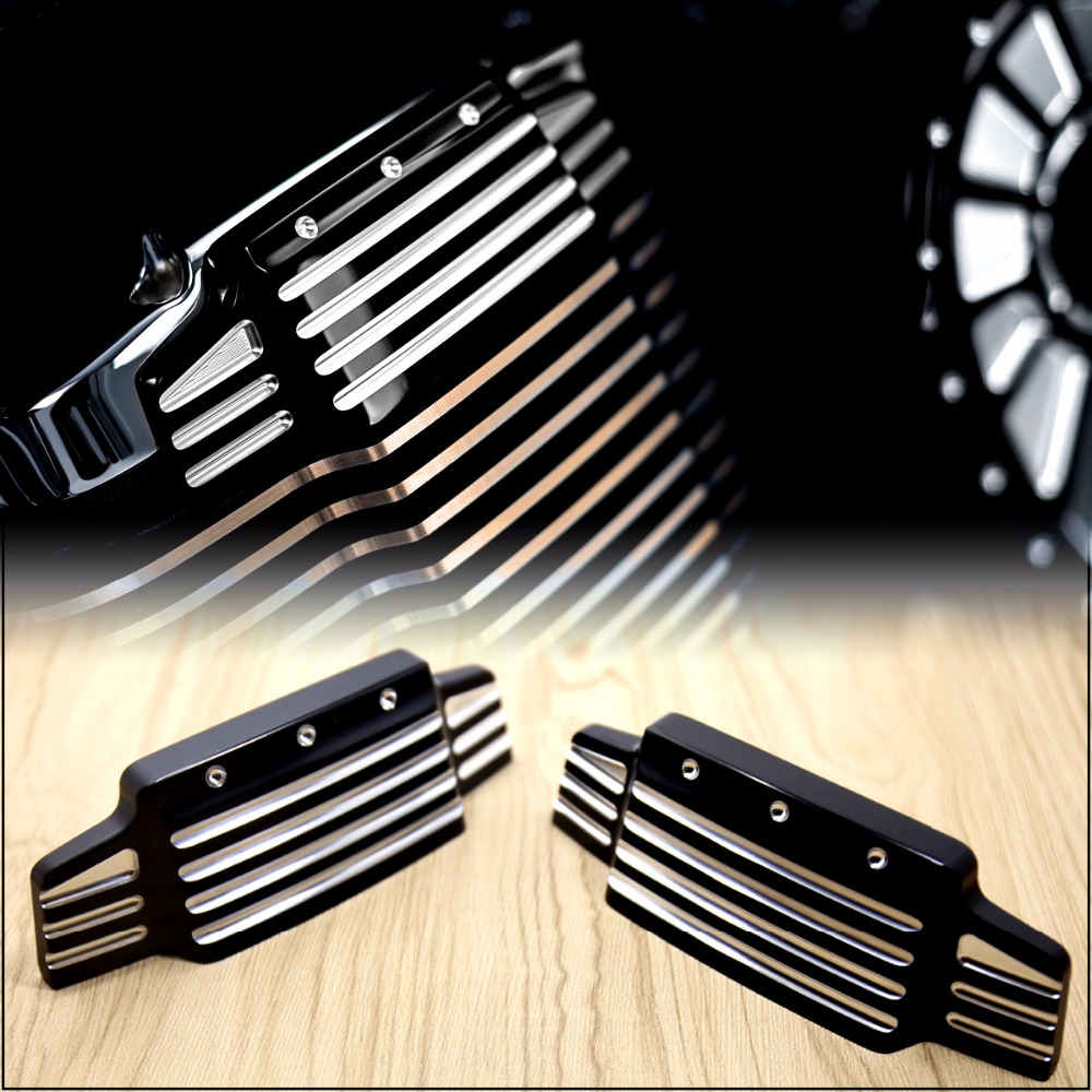 1Pair Black Shallow Cut Valve Cover Accents For Victory Cross Country Kingpin Vision Vegas 2006 2013