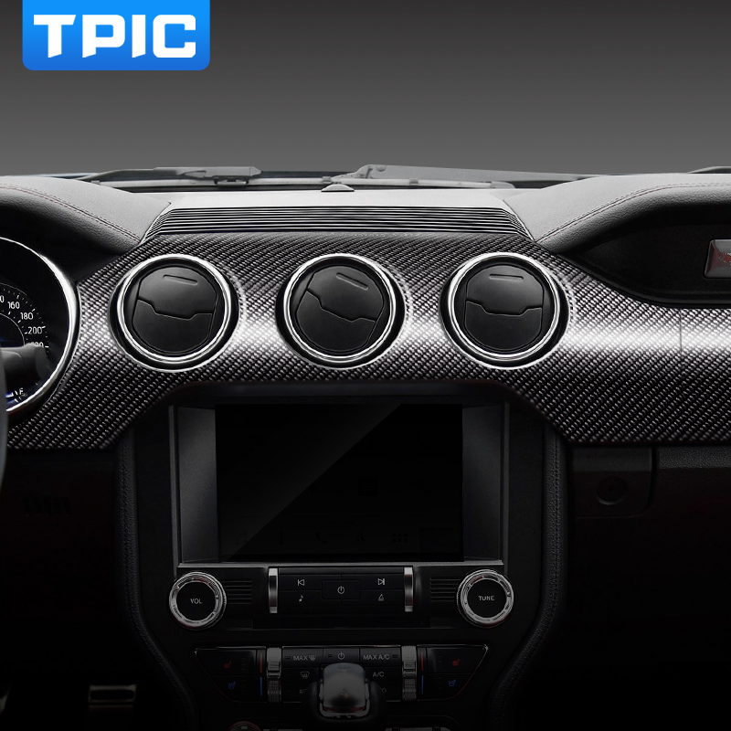 TPIC For Mustang Carbon Fiber Dashboard Instrument Panel Car Stickers and Decals Trim Cover Car Styling 2015 2019 Accessories-in Car Stickers from Automobiles & Motorcycles    1