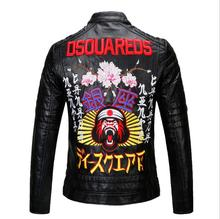 Free shipping New High quality Spring Fashion Stand collar men coat men's leather jacket Brand motorcycle leather jackets M-XXXL