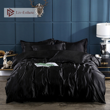 Liv-Esthete Luxury Black Satin Silk Bedding Set Silky Duvet Cover Flat Sheet Pillowcase Double Queen King Bed Set Wholesale
