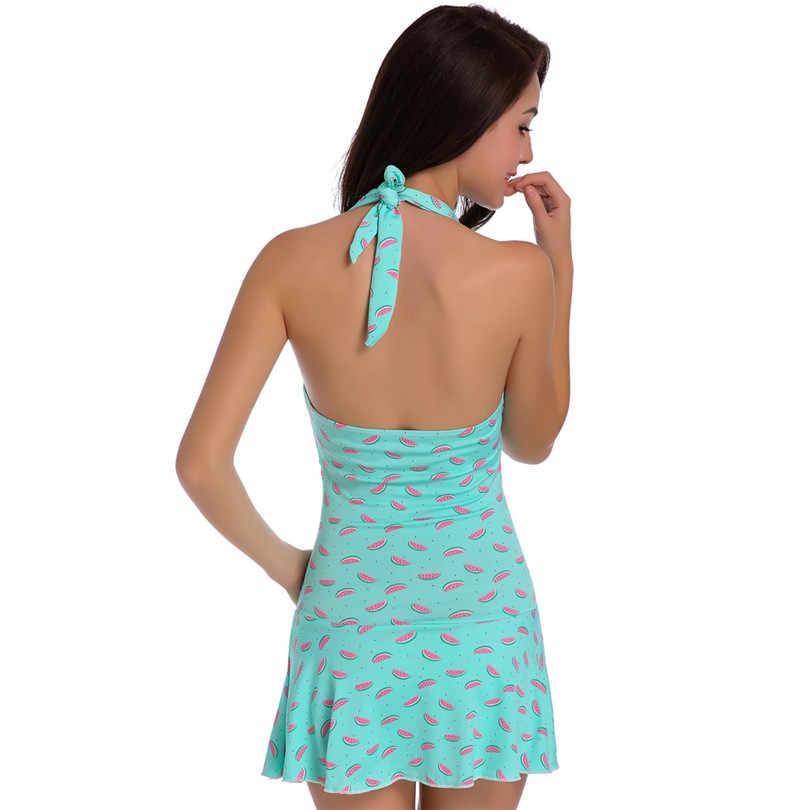Купальное платье с принтом арбуза женские Купальники Большие размеры на косточках Купальники пуш-ап Женская банная одежда платье с запахом купальные костюмы