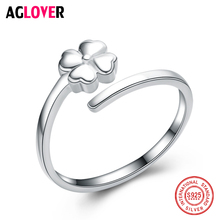 925 Sterling Silver Ring Couple Flat Cute Clover Female Rings for Women Elegant Fashion Design Sterling-Silver-Jewelry