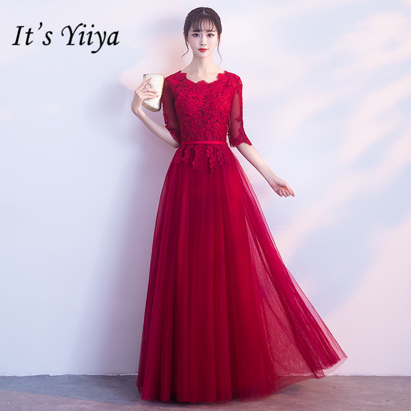 It's YiiYa Vintage Embroidery Wine Red   Prom     Dresses   Summer Slim A-line Floor-length Evening Gown JLM017