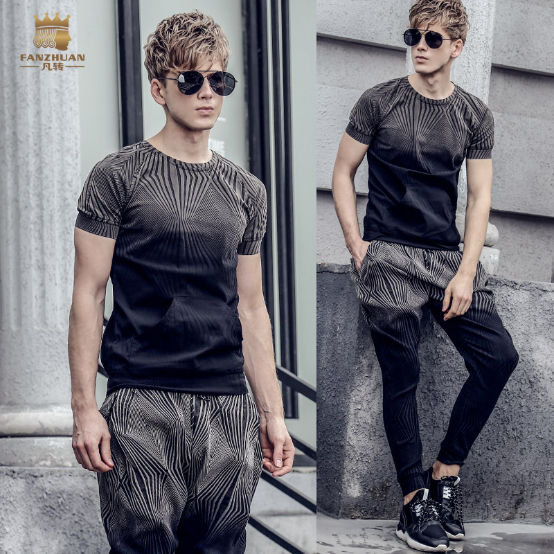 Fanzhuan Free Shipping New Casual 2018 Male Men's Suit Men Summer Thin Round Neck Personality Korean T Shirt Pants Set 811004