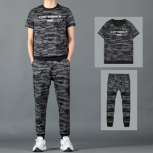 Summer Mens Camo Sets T Shirts+pants Two Pieces Shorts Set Casual Camouflage Tracksuit New Male Tshirt Gyms Fitness Trousers Men