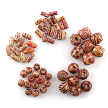 Natural Color Round Eco-Friendly Log Printed Wood Beads Big Hole Shape Fits For DIY Bracelet Jewelry Making Accessor