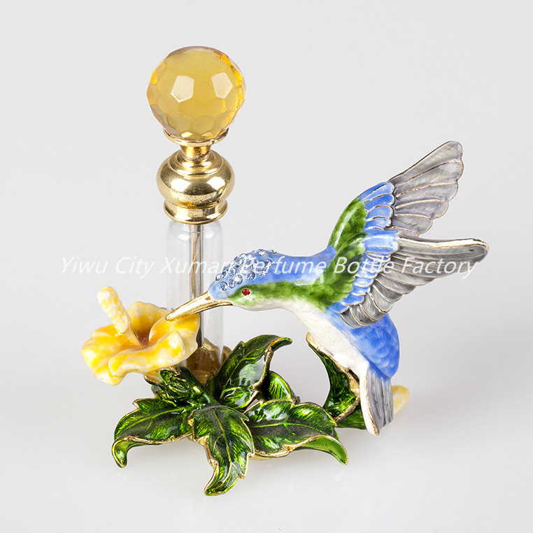 4ml Perfume Bottle Vintage Empty Refillable Bottle Metal Hummingbird Glass Empty Container Portable Gift Home Decoration#70037