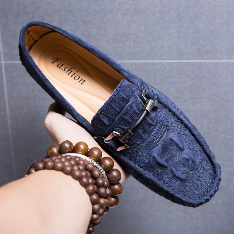 Men Loafers Shoes Genuine   Leather   Mens Driving Shoe   Suede   Boat Slip On Shoes Breathable Male Casual Flats Mocassin homme Blue