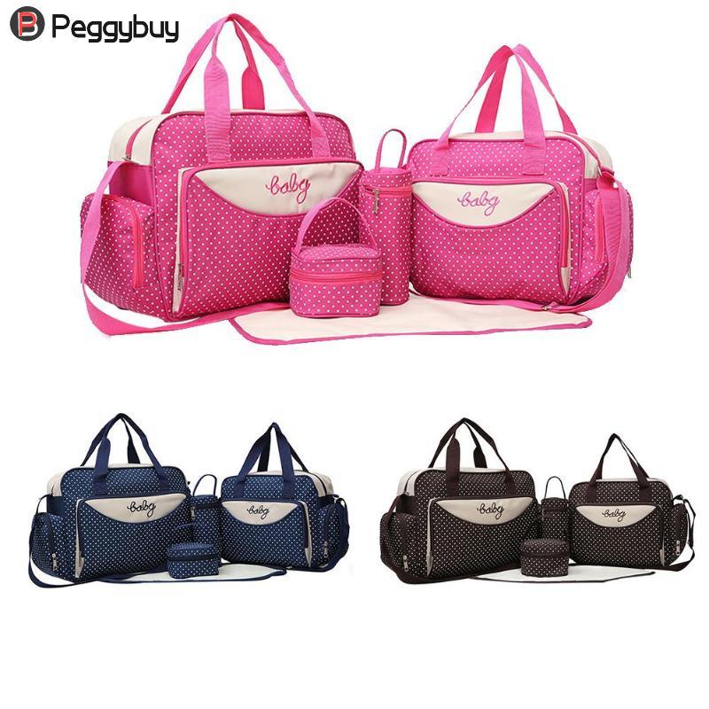 5pcs/Set Mom Travel Bag Baby Diaper Nappy Milk Stroller Maternity Storage Handbags Multi-functional Big Capacity Mummy Bag