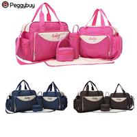 5pcs/Set Mom Travel Bag Baby Diaper Nappy Milk Stroller Maternity Storage Handbags Multi functional Big Capacity Mummy Bag