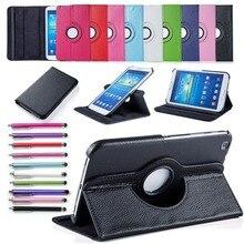 Para el Caso de Samsung Galaxy Tab 3 8.0 T311 T310, T315 Inteligente Soporte de la Tableta de Cuero de LA PU Cubierta de la Caja 360 Stylus Protector de Pantalla giratoria