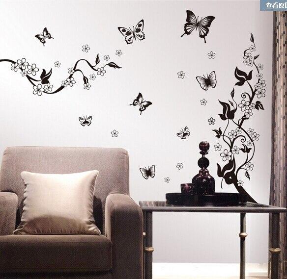 autocollant freska crni leptir vino cvijet naljepnica za zid kupatilo - Kućni dekor - Foto 3
