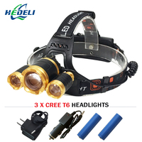 3T6 White Light Yellow Light CREE XML T6 Headlamp Led Headlight 10000 Lumens Rechargeable 18650 Battery