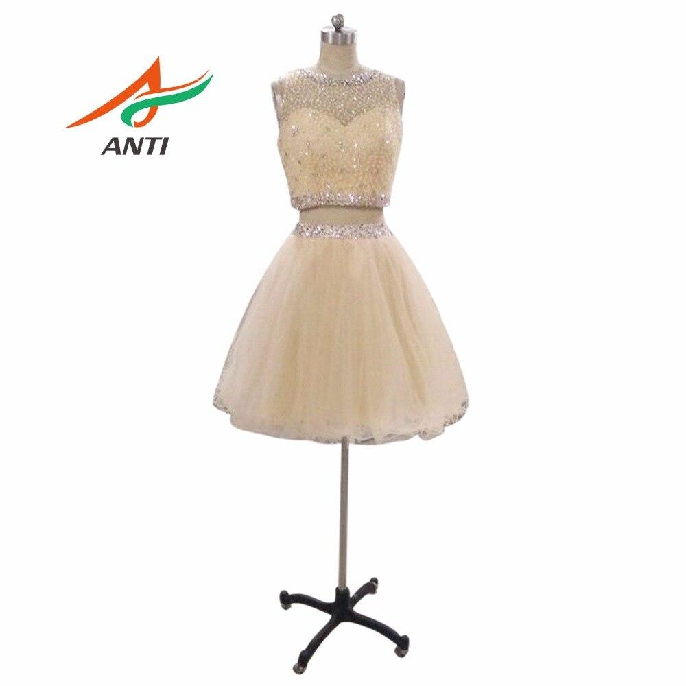 ANTI Luxury Robe De   Cocktail     Dresses   2019 Two Pieces Tulle Vestidos De Coctel Party Gowns For Wedding Party Off The Shoulder