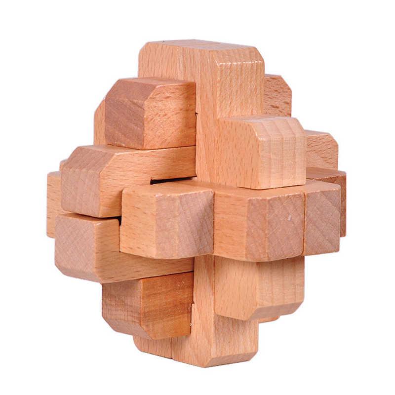 ABWE Best Sale Wooden Satellite Lock Logic Puzzle Burr Puzzles Brain Teaser  Intellectual Removing Assembling Toy