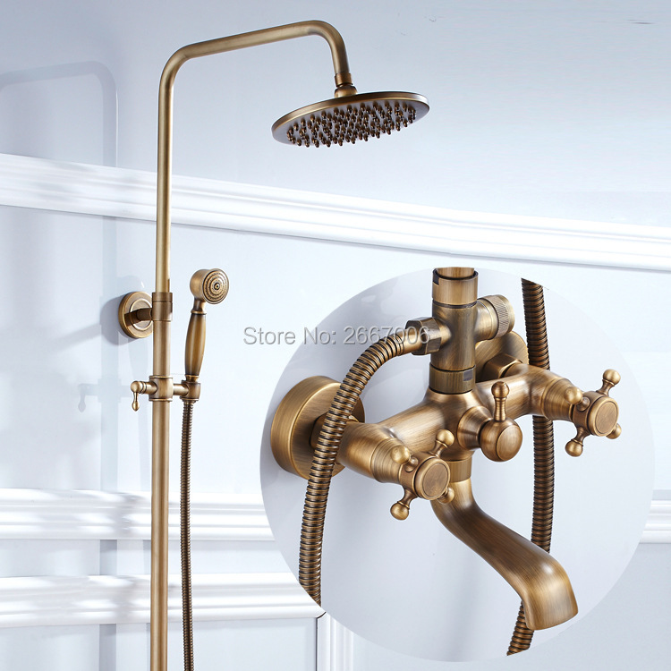 Free shipping Euro Style Antique Brass Shower set Bathroom Rainfall Shower Set Wall Mount Bath Faucet With Shower Head Set ZR027