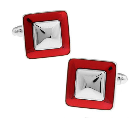IGame Factory Price Retail Enamel Cufflinks Red Color Brass Material Square Design Cuff Links