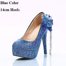 3acad4c7e9 2018 Bonito Azul AB Cor Cristal Sapatos de Casamento Lindo Strass Flor  Nupcial Do Partido Do
