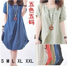 Large Size Dress Women Summer Korean version of the loose fat mm casual folds cotton linen round neck short-sleeved slim