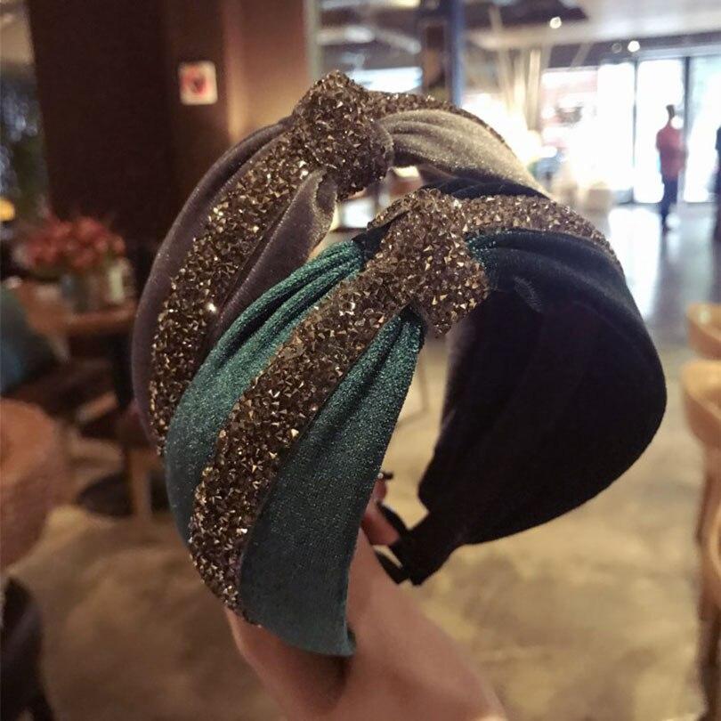 Haimeikang  Bohemian Vintage Cross Headband Women Travel Turban Hairband Crystal Twisted Elastic Headbands Hair Accessories