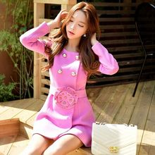 dabuwawa high quality coat ladies long double breasted slim waisted flower kaban woolen overcoat wholesale pink doll pink doll