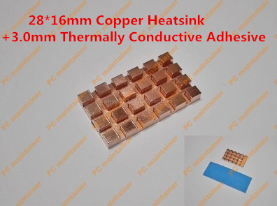28 16mm Copper Heatsink 3 0mm Thermally Conductive Adhesive Copper MINI PCI E Interface laptop Wireless
