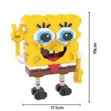 HC 9007 SpongeBob Diamond Minifigures Doll LOZ Bricks Diamond Building Blocks Toys Minifigure Compatible with Legoe