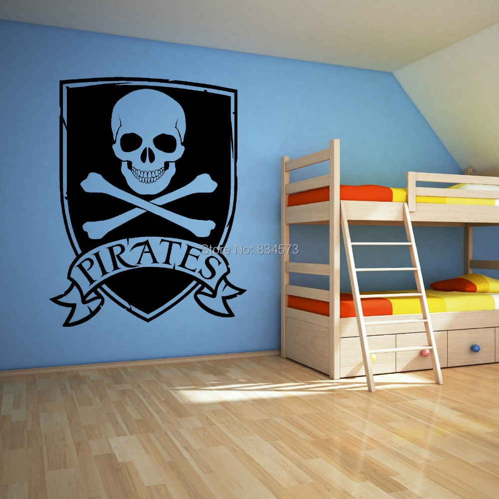 online get cheap wall mural pirate aliexpress com alibaba group pirate skull and crossbones logo wall art stickers wall decal home diy decoration wall mural removable