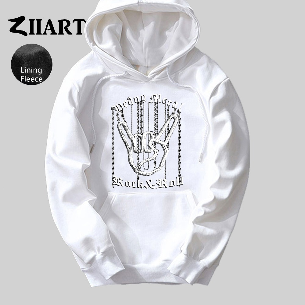 Heavy Metal Rock Roll Hand Chain Horned Gesture Corna Mano Cornuta Boys Man fleece Hoodie couple clothes ZIIART in Hoodies amp Sweatshirts from Men 39 s Clothing