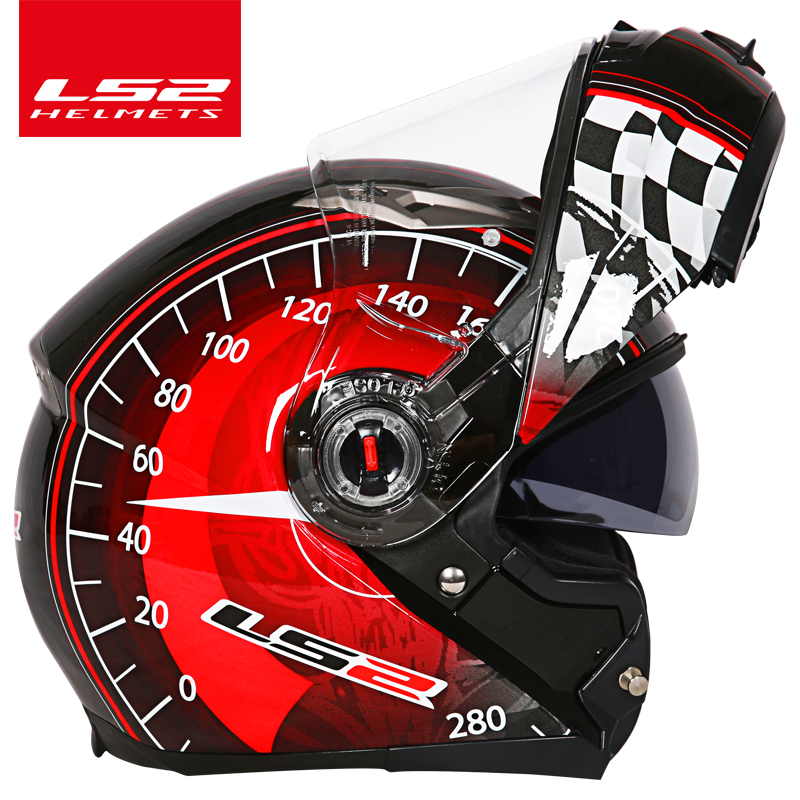LS2 FF370 Motorcycle helmet casco racing flip up Full Face Racing Moto Helmet dual lens visor