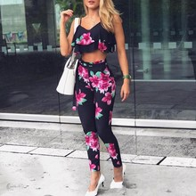 2019 Sexy Sleeveless Ruffles Floral Print Set Women Spaghetti Strap Crop Top Pants Two Piece Suits Summer Casual Outfits spaghetti strap floral print ruched bikini set