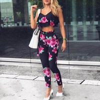 2019 Sexy Sleeveless Ruffles Floral Print Set Women Spaghetti Strap Crop Top Pants Two Piece Suits Summer Casual Outfits