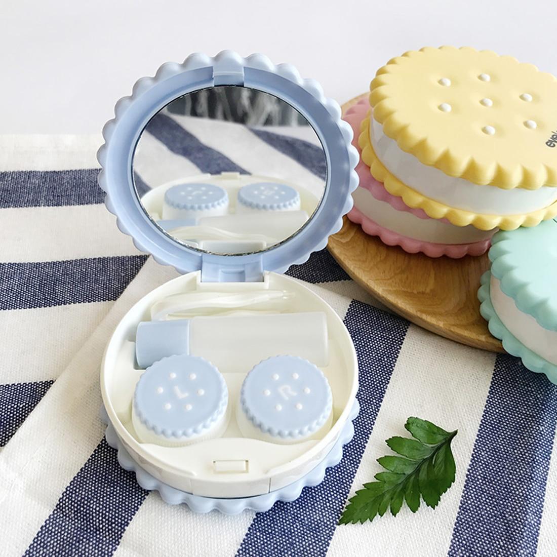 Mignon dessin animé biscuits forme étui à lentilles de Contact belle spéciale Mini voyage Portable poche conteneur de caisses support de Kit de voyage