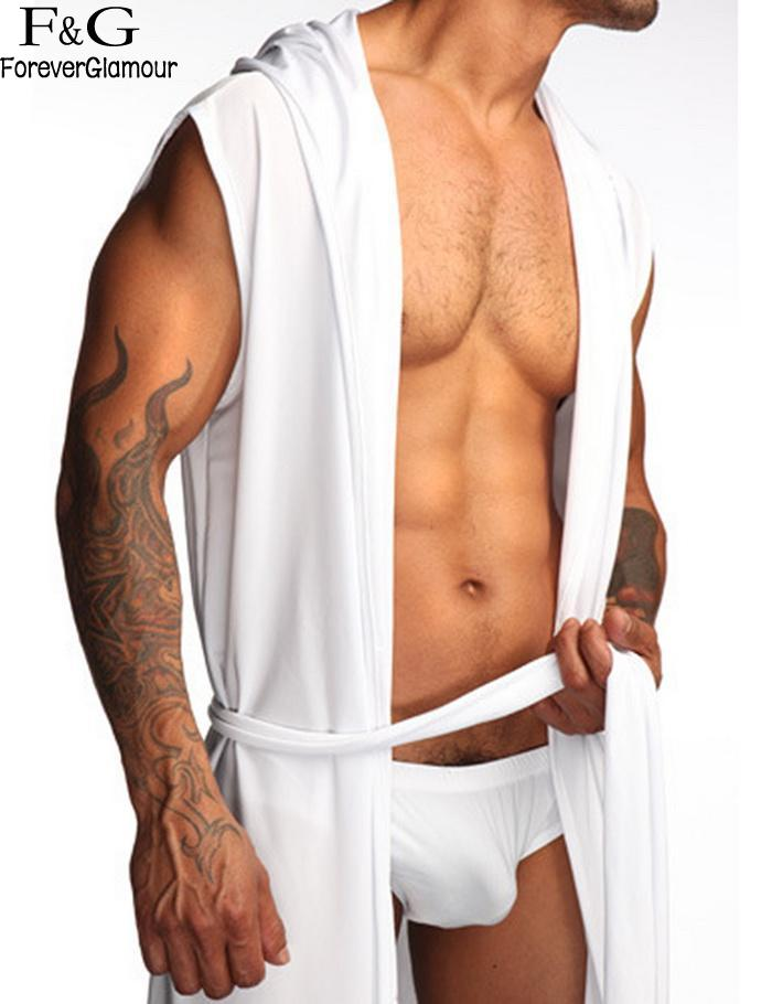 Fashion New Men Bath Robe Hooded Sleeveless Silk Robe Ultrathin Leisure Wear