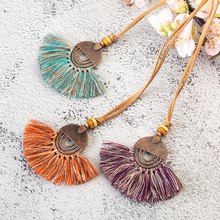 Ethnic Long Leather Women's necklaces Bohemia Round Hollow Tassel necklace for women Vintage Charm Sweater chain 2018 NEW