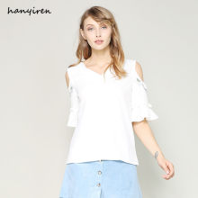 Hanyiren Women Embroidery White Blouse And Shirts Summer Flare Short Sleeves Cotton Linen Female Loose Casual Tops Office Wear(China)